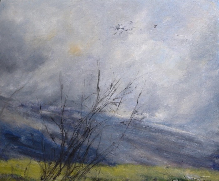 "Landscape with the Ventoux, grey sky and birds and branches of trees in winter on the first plan. oil on cardboard(18""X15"")."