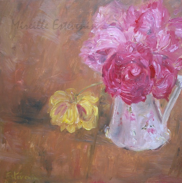 "Still life with pink roses and a yellow rose in a white pot, on a wood table. oil on carboard""12""x12"". framed with white american box"