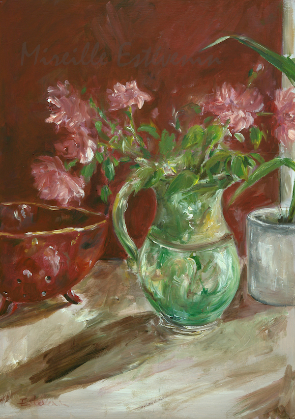 Still life red and green, with pink roses in a green pot, and red pottery on a red wall. oil on wood. sold