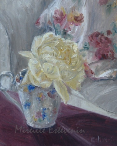 Yellow rose in English pot behind cushions with flowers.oil on canvas.