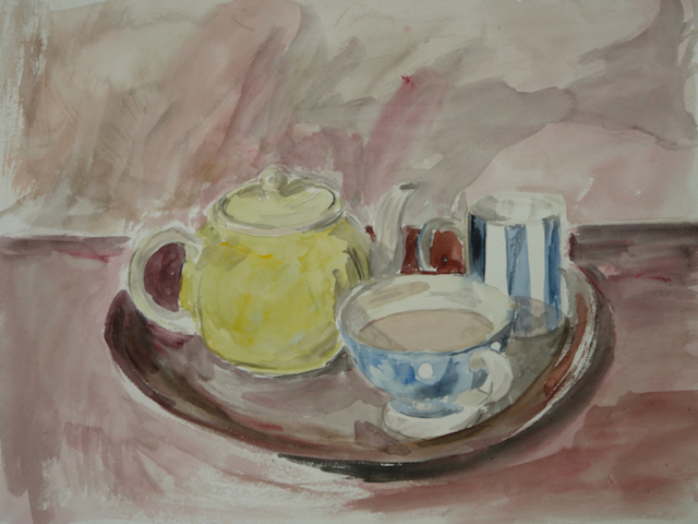 Still life with a yellow tea pot,2 blue and white mugs on a dark red table.Tea time. watercolor on paper.
