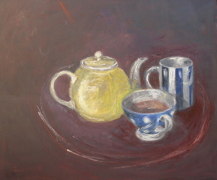 Still life of a yellow tea pot and 2 blue and white cups. oil on cardboard. sold