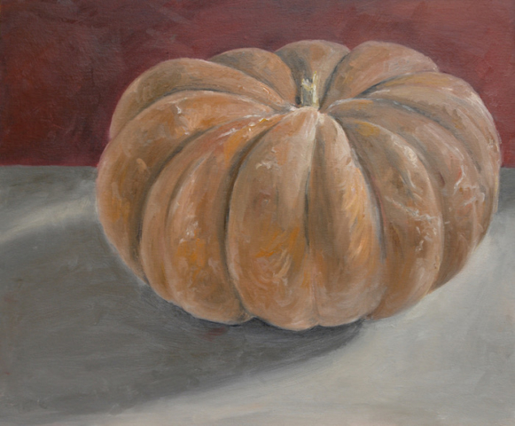 Still life with an orange pumpkin behind a red wall.oil on cardboard. sold