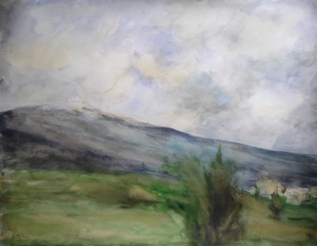 Landscape with the Ventoux mountain and on right, the village of Crillon le Brave. watercolor and inks on paper.