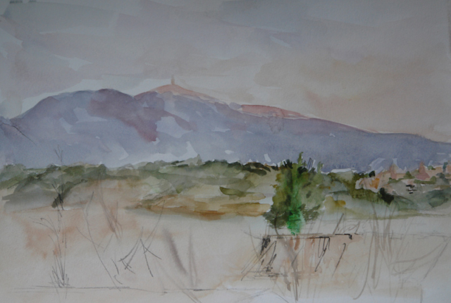 "Landscape of the Ventoux and Crillon le Brave from the garden at Caromb.watercolor on paper(19.5""x16"").sold"