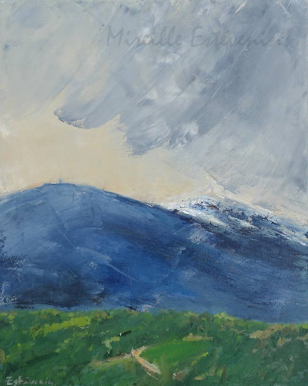Landscape of the Ventoux, in green and blue. Oil painting on canvas