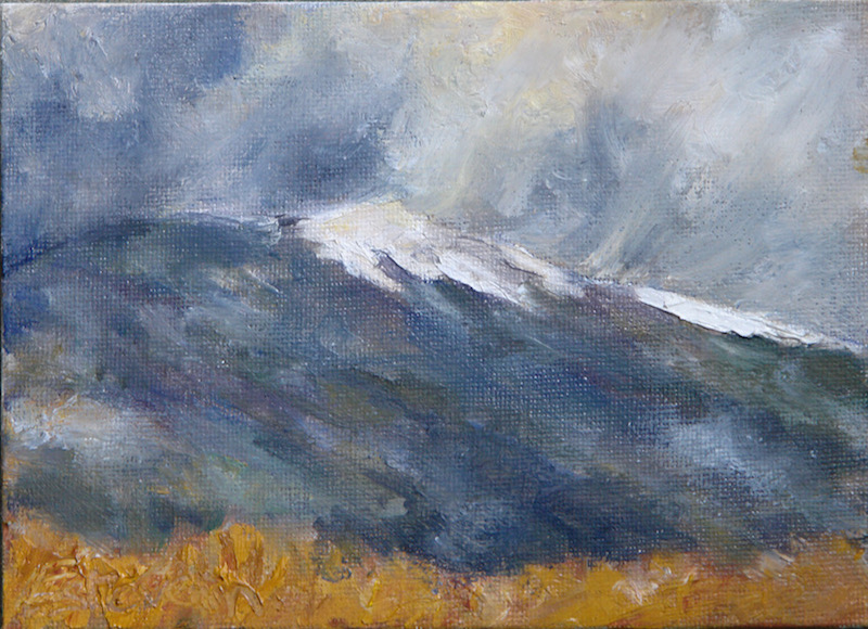 landscape of the Ventoux in winter with autumn colours at the first plan.oil on cardboard
