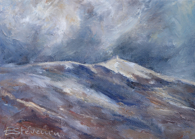 landscape of the Ventoux with clouds. Blue and purple colors. oil on cardboard (small)