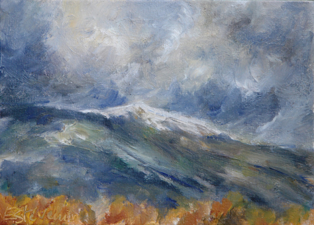Landscape of the Ventoux in winter with clouds and yellow colors at the first plan. oil on cardboard.