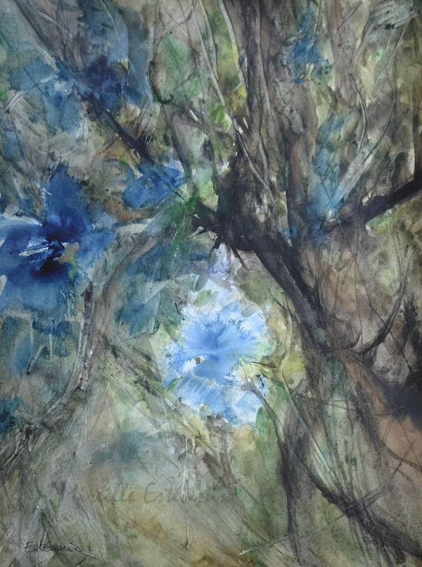 View inside blue flowers on a tree in the garden. watercolor and inks on paper.