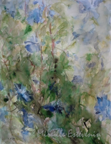 Blue morning glory flowers on a tree in the garden. watercolor and inks on paper. sold