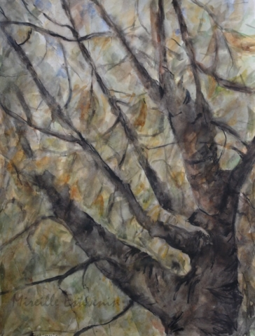 "walnut tree in the garden.Zoom view inside the tree with yellow leaves.watercolor and inks on paper(20""x25.5"")"