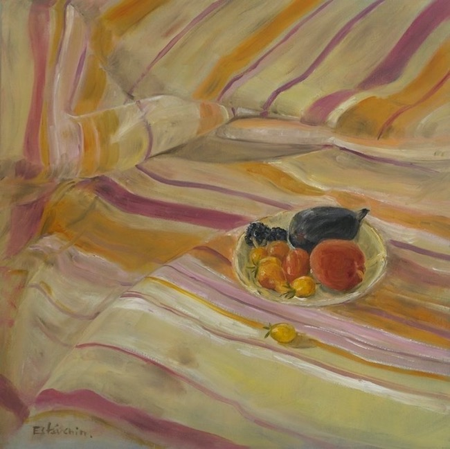 Still life of Summer fruit on a stripe cloth with pink and yellow colors.oil painting on canvas. sold