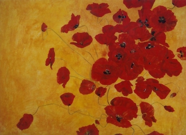 red poppies on yellow color. oil painting on wood. sold
