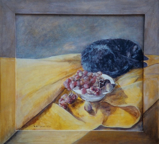 Interior scene with a grey cat sleeping near a still life of autumn fruit on a white plate, on a yellow cloth. oil painting on wood. sold.
