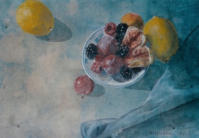 Still life of yellow lemons and red fruit in a small dish, on a blue table cloth. tempera painting on wood. sold.