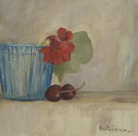 Still life with an orange nasturtium in a turquoise glass and 2 cherries. oil painting on cardboard. sold.