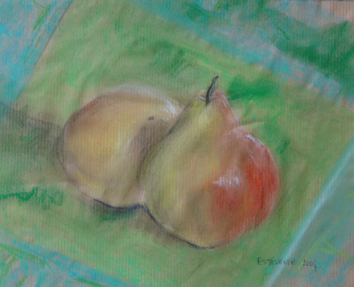Still life of 2 yellow and red pears on a green and turquoise table cloth. pastel on kraft paper.