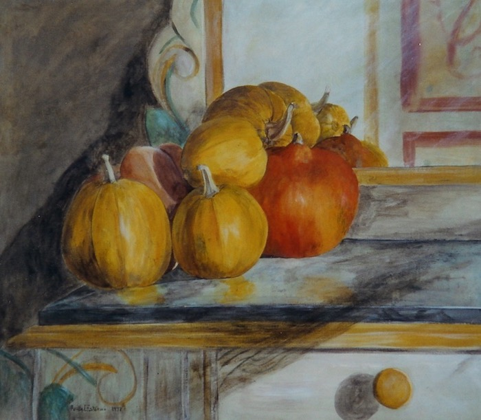 Still life with 6 yellow and orange pumpkins on a corner of a sideboard. wax painting on wood.sold.