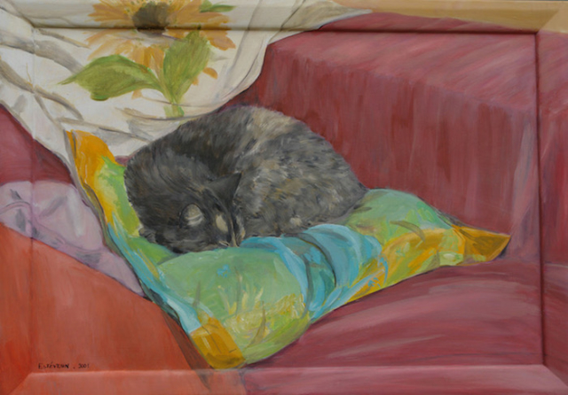 Interior scene with a grey cat sleeping on green,blue, yellow cushion on a pink sofa. oil on wood.not for sale.
