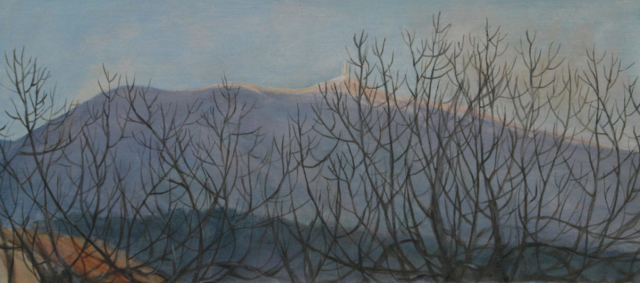 "Landscape with the Ventoux and figs trees in front of. it's the evening in winter.oil on wood(8""x18"")"