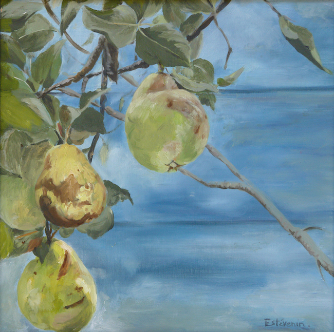 3 quinces on the tree (detail)in front of the blue cabin in the garden. oil painting on cardboard.
