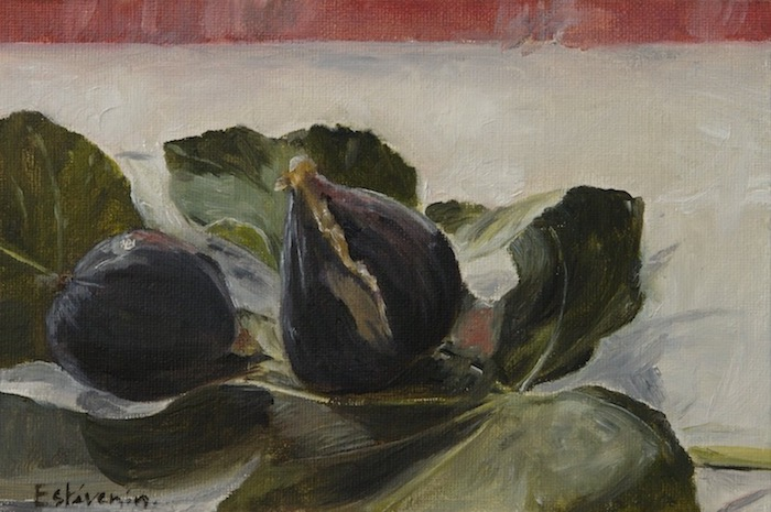 Still life with 2 black Caromb figs on a fig leave. oil painting on cardboard. sold.