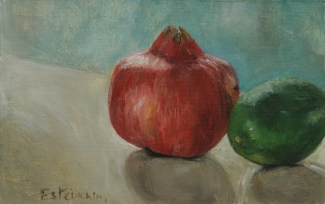 Still life with a green lemon and a pomegranate. oil painting on cardboard (small size).sold.