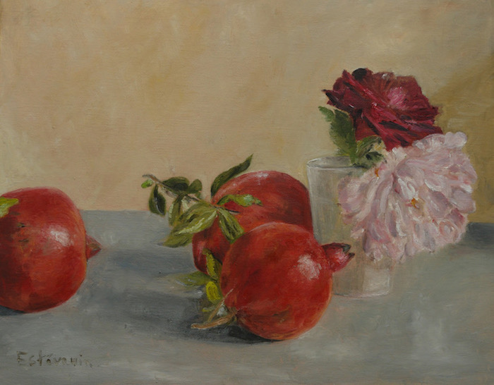 Still life of 2 pink(pale and dark)roses in a small white glass and 3 pomegranates.oil painting on cardboard.sold.