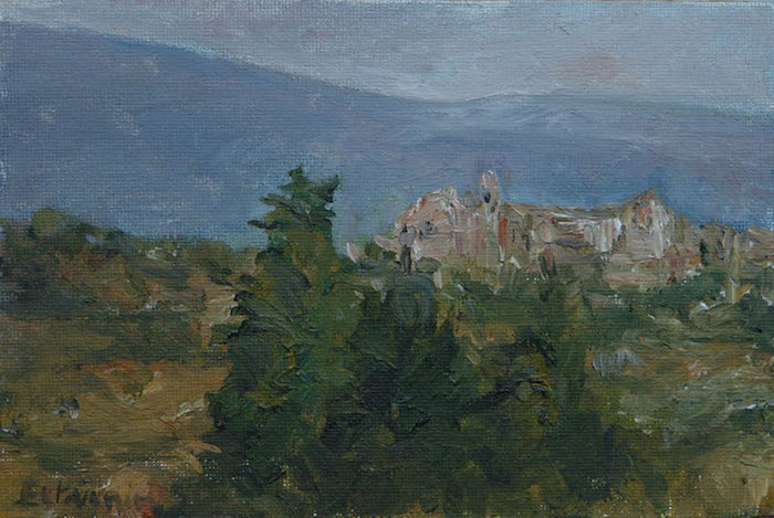 """Landscape of the Ventoux, with Crillon le Brave, village on the right. oil on cardboard( 4""""x6"""").not for sale."""