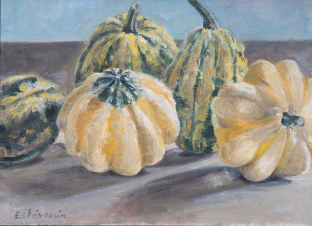 Still life with 5 green and yellow pumpkins on a table. oil painting on cardboard. sold.