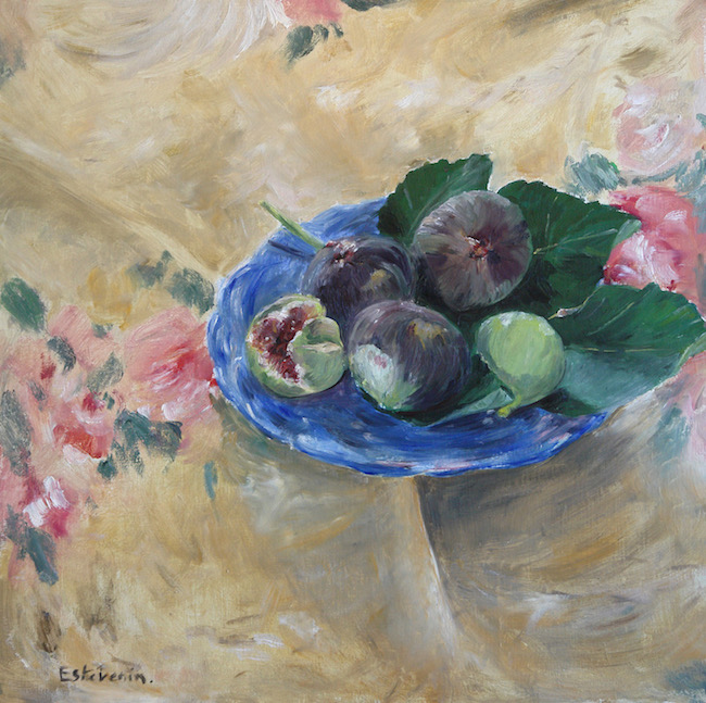 Still life with 3 black figs and 2 green on a blue plate, on a  flowers table cloth. oil painting on cardboard. sold