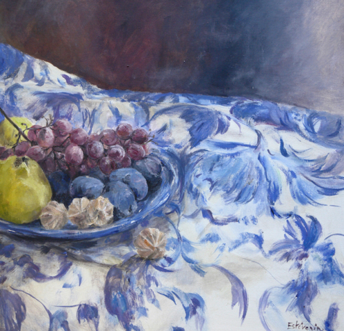 Still life of autumn fruit on a blue palte, on a blue flowers table cloth. Blue oil painting on cardboard.