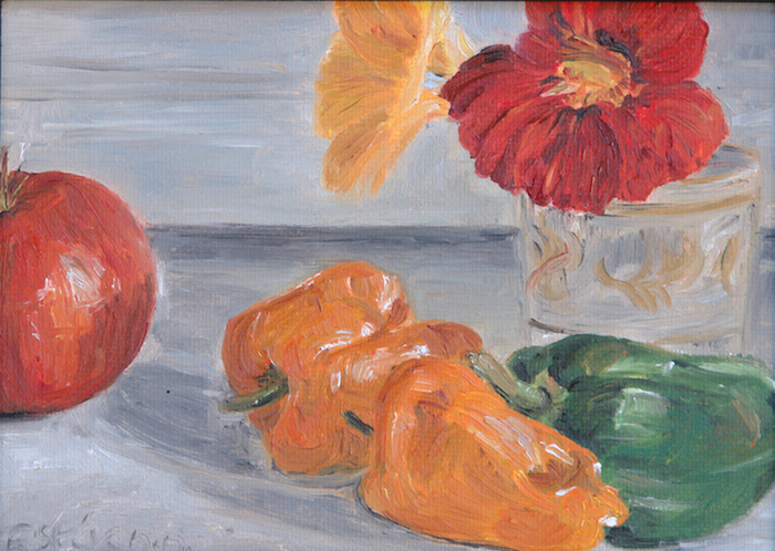 Still life with 2 yellow peppers and 1 green,1 red tomato in front of 2 nasturtiums in a small glass. the background is pale grey.oil painting on cardboard.sold.