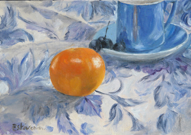 Still life of a clementine on a blue table cloth with a blue coffee cup. oil on cardboard. sold
