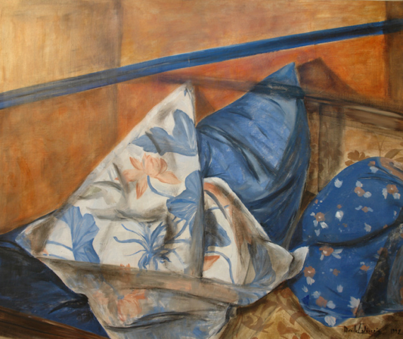 Interior scene with a detail of a sofa with blue cushions, with an orange wall. oil painting on canvas. not for sale.