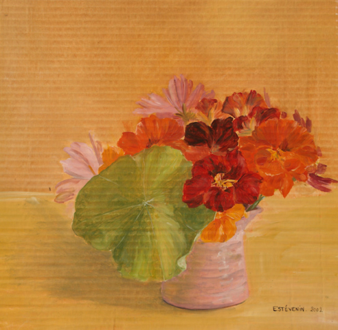 Still life with nasturtiums in a pink pot, behind an orange background. oil on cardboard.