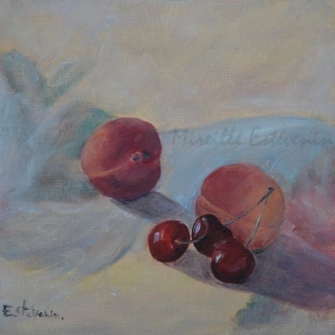 """Still life with 2 apricots and 3 cherries. oil painting on a cardboard(8""""x8""""). sold"""