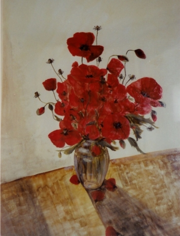 """poppies in a glss vase on the floor.The fllor is brown yellow and the background is white. oil on paper(20""""x25.5"""").sold"""