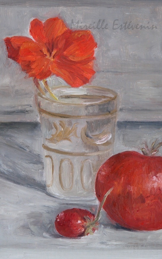 Still life with an orange nasturtium in a small glass and a strawberry and a tomato. the background is grey. oil painting on a cardboard. sold.