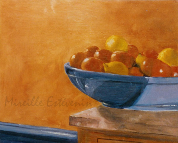 Still life with clementine in a blue dish, behind an orange wall. oil painting on wood. sold.