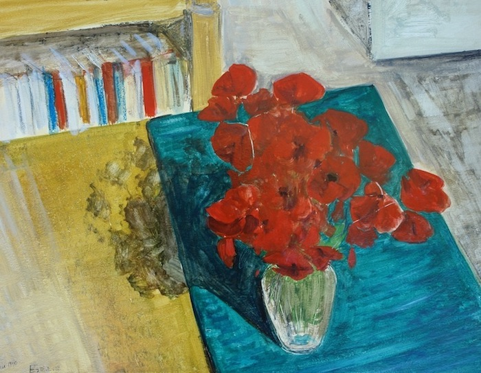 Interior scene with poppies bunch in a glass vase on a green blue carpet and books on the background. oil painting on paper.