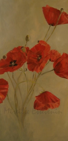 Red poppies on grey color. oil painting on canvas. sold