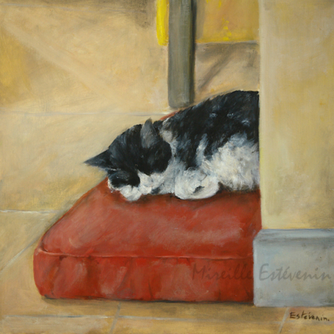 Interior scene with a black and white cat sleeping on a red cushion on the floor. oil painting on cardboard. not for sale.