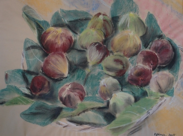 Still life of figs and leaves in a dish. pastel on kraft paper.