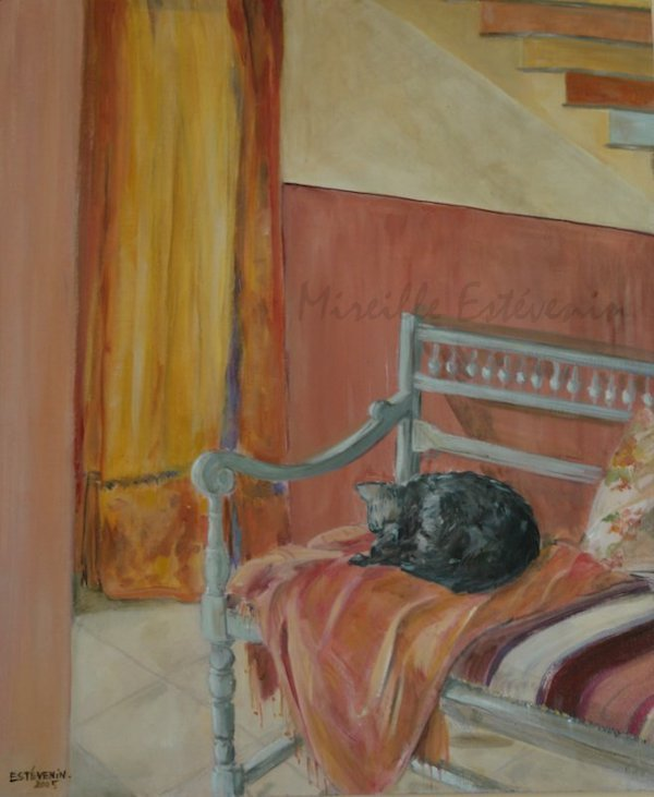 Interior scene with a cat sleeping on a bench. Yellow and orange colors. Oil painting on wood. sold