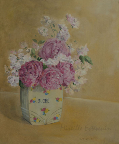 Still life with different pink roses in an ancient sugar pot. the background is ochre. oil painting on canvas. sold.
