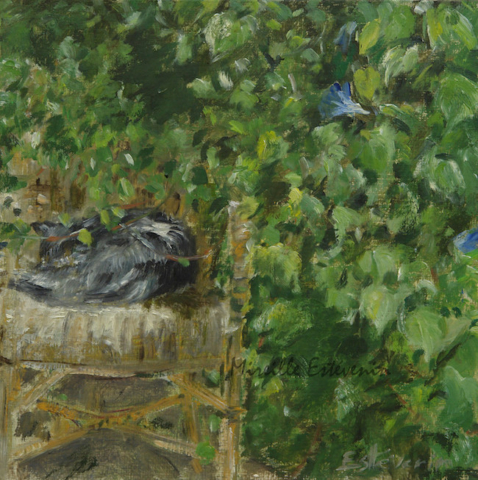 "Grey cat sleeping on a garden armchair under the bower.oil painting on cardboard(8""x8"").not for sale"