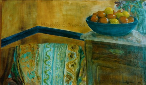 Interior scene with clementines and lemons in a blue dish on a corner of a sideboard, near an armchair. oil painting on wood. sold