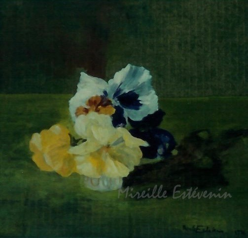 Still life of yellow, white and purple blue pansees in a small white glass on a dark green background. oil on cardboard. sold.